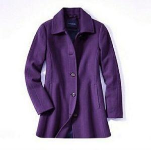 Land's End purple wool boulce pea coat